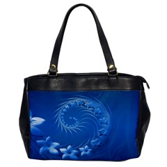 Blue Abstract Flowers Oversize Office Handbag (one Side) by BestCustomGiftsForYou