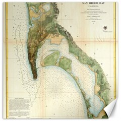 Vintage Map Of The San Diego Bay (1857) Canvas 12  X 12  (unframed) by Alleycatshirts