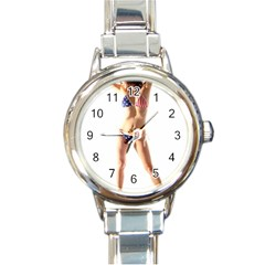 Usa Girl Round Italian Charm Watch by hlehnerer