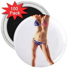 Usa Girl 3  Button Magnet (100 Pack) by hlehnerer