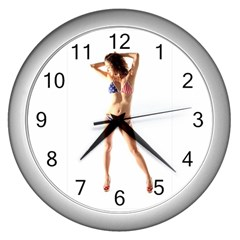 Usa Girl Wall Clock (silver) by hlehnerer