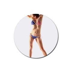Usa Girl Drink Coaster (round) by hlehnerer