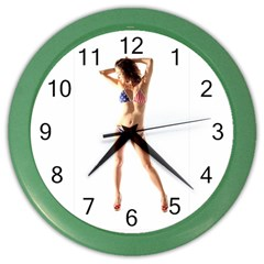 Usa Girl Wall Clock (color) by hlehnerer