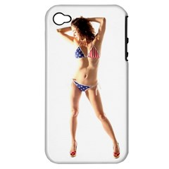 Usa Girl Apple Iphone 4/4s Hardshell Case (pc+silicone) by hlehnerer