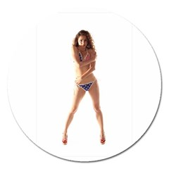 Usa Girl Magnet 5  (round) by hlehnerer