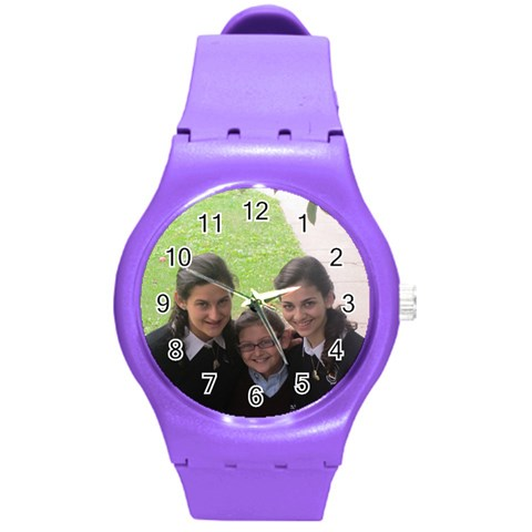 Watch By Leah   Round Plastic Sport Watch (m)   B144qrd94d8d   Www Artscow Com Front