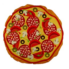 Pizza By Divad Brown   Large 18  Premium Round Cushion    3snsqh4kzrg8   Www Artscow Com Back