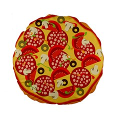 Pizza By Divad Brown   Standard 15  Premium Round Cushion    Tvw33h3yigee   Www Artscow Com Front