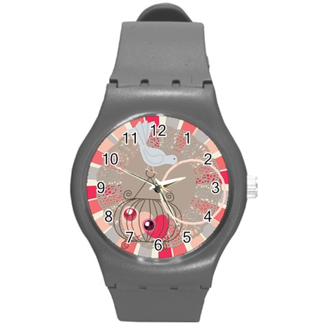 In Love Watch Medium By Zornitza   Round Plastic Sport Watch (m)   3vh95p0pezh2   Www Artscow Com Front