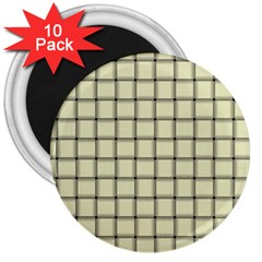 Cream Weave 3  Button Magnet (10 Pack) by BestCustomGiftsForYou