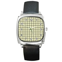 Cream Weave Square Leather Watch by BestCustomGiftsForYou
