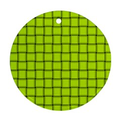 Fluorescent Yellow Weave Round Ornament by BestCustomGiftsForYou