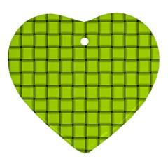Fluorescent Yellow Weave Heart Ornament by BestCustomGiftsForYou