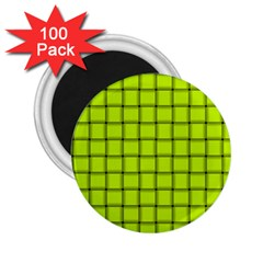 Fluorescent Yellow Weave 2 25  Button Magnet (100 Pack) by BestCustomGiftsForYou