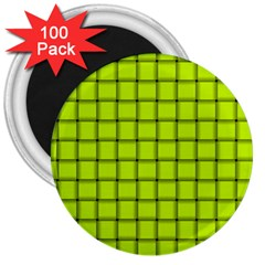 Fluorescent Yellow Weave 3  Button Magnet (100 Pack) by BestCustomGiftsForYou