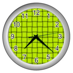 Fluorescent Yellow Weave Wall Clock (silver) by BestCustomGiftsForYou