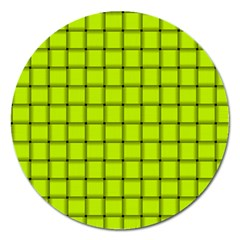 Fluorescent Yellow Weave Magnet 5  (round) by BestCustomGiftsForYou