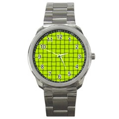 Fluorescent Yellow Weave Sport Metal Watch by BestCustomGiftsForYou
