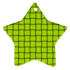 Fluorescent Yellow Weave Star Ornament (two Sides) by BestCustomGiftsForYou