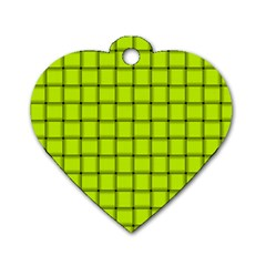 Fluorescent Yellow Weave Dog Tag Heart (two Sided) by BestCustomGiftsForYou