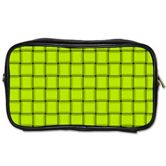 Fluorescent Yellow Weave Travel Toiletry Bag (two Sides) by BestCustomGiftsForYou