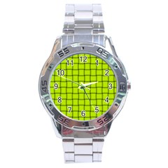 Fluorescent Yellow Weave Stainless Steel Watch (men s) by BestCustomGiftsForYou