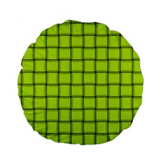 Fluorescent Yellow Weave 15  Premium Round Cushion  by BestCustomGiftsForYou