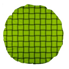 Fluorescent Yellow Weave 18  Premium Round Cushion  by BestCustomGiftsForYou