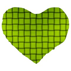 Fluorescent Yellow Weave 19  Premium Heart Shape Cushion by BestCustomGiftsForYou