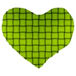 Fluorescent Yellow Weave 19  Premium Heart Shape Cushion Front