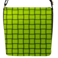 Fluorescent Yellow Weave Flap Closure Messenger Bag (small) by BestCustomGiftsForYou