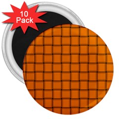 Orange Weave 3  Button Magnet (10 Pack) by BestCustomGiftsForYou