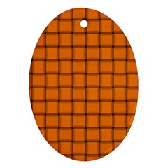 Orange Weave Oval Ornament (two Sides) by BestCustomGiftsForYou
