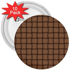 Cafe Au Lait Weave 3  Button (10 Pack) by BestCustomGiftsForYou