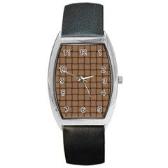 Cafe Au Lait Weave Tonneau Leather Watch by BestCustomGiftsForYou