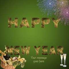 Green And Gold New Year 3d Card By Deborah   Happy New Year 3d Greeting Card (8x4)   2tubmjnx63fa   Www Artscow Com Inside