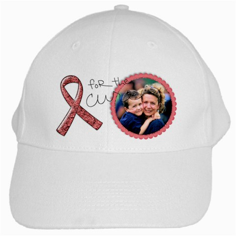 For The Cure, Breast Cancer Awareness  White Cap By Mikki   White Cap   87aufzmba1rj   Www Artscow Com Front