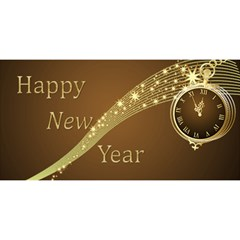 Gold New Year 3d Card By Deborah   Happy New Year 3d Greeting Card (8x4)   Awzh9y3dkv3g   Www Artscow Com Front