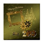 Merry Christmas 2013 green gold face towel