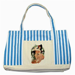 Job Advertisement By Alfons Mucha 1898  Blue Striped Tote Bag by EndlessVintage