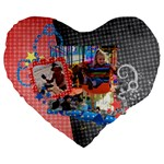 happy-vacation to the happiest place on earth- heart cushion - Large 19  Premium Heart Shape Cushion