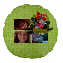 Christmas Holiday Round Cushion By Mikki   Large 18  Premium Round Cushion    Oou4fx4tilqz   Www Artscow Com Front