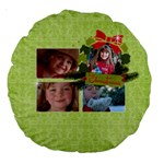 Christmas-Holiday-round cushion - Large 18  Premium Round Cushion