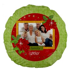 Christmas Holiday Round Cushion By Mikki   Large 18  Premium Round Cushion    Oou4fx4tilqz   Www Artscow Com Back