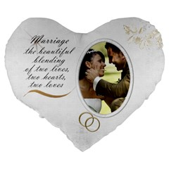 Marriage 19  Heart Shape Cushion By Deborah   Large 19  Premium Heart Shape Cushion   Cy0jswswj393   Www Artscow Com Back