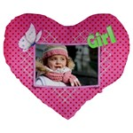 Girl 19  Heart  shape Cushion - Large 19  Premium Heart Shape Cushion