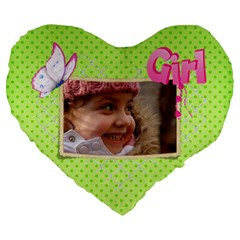 Girl Green 19  Heart  Shape Cushion By Deborah   Large 19  Premium Heart Shape Cushion   H7g6l8c8cve5   Www Artscow Com Front