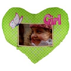 Girl Green 19  Heart  Shape Cushion By Deborah   Large 19  Premium Heart Shape Cushion   H7g6l8c8cve5   Www Artscow Com Back