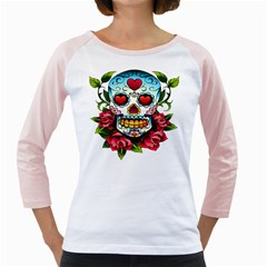 Sugar Skull Womens  Long Sleeve Raglan T-shirt (White) by EndlessVintage