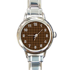 Brown Nose Weave Round Italian Charm Watch